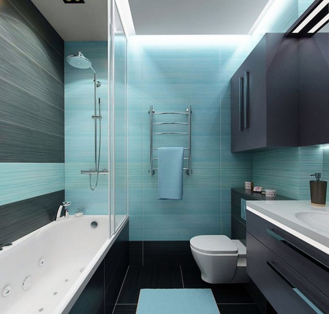 Бирюзовая ванная комната в стиле минимализма