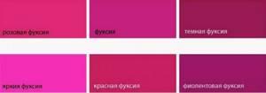 фуксия цвета оттенки
