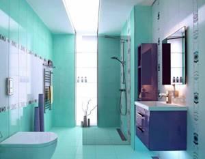Интерьер ванной в фиолетово-бирюзовом цвете