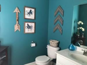Картины на бирюзовой стене в туалете