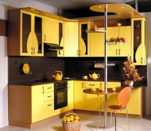 красивый стиль кухни в горчичном цвете