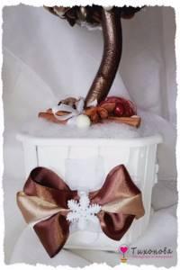 Новогодний топиарий декор горшка